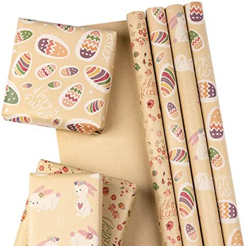 RUSPEPA Kraft Wrapping Paper Sheet Adorable Rabbit and Eggs Design Great for Easter Holiday product image