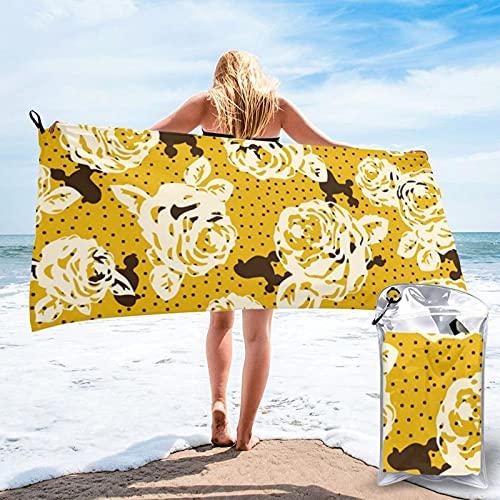 Toalla de baño de microfibra de secado rápido, flores amarillas y perros, toallas absorbentes grandes, manta de playa para deportes, camping, viajes, piscina, 27.5 x 55 pulgadas