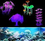 eWINNER Paquete de 4 decoraciones para acuario, plantas de coral brillante, arrecife, simulación de hongos y anémonas para acuario Betta Fish Tank Glow Ornamento Accesorios