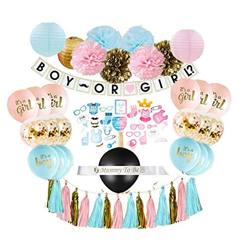 Why Choose Gender Reveal Party Supplies (75 pieces) with Photo Props, 36 Inch Reveal Balloon and Sas...