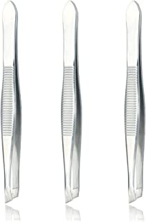 Luxxi (3 Pack) Slant Tweezers - Precision Stainless Steel Slant Tip Tweezers Hair Plucker for Hair and Eyebrows Personal Care (Silver Tone)