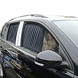 Jiufan New 2Pcs 50Cm 19.7Inch Luxury Black Auto Car For Audi VW Front Rear Window Curtains Drape Sunshade Valance Visor Mesh Fabric