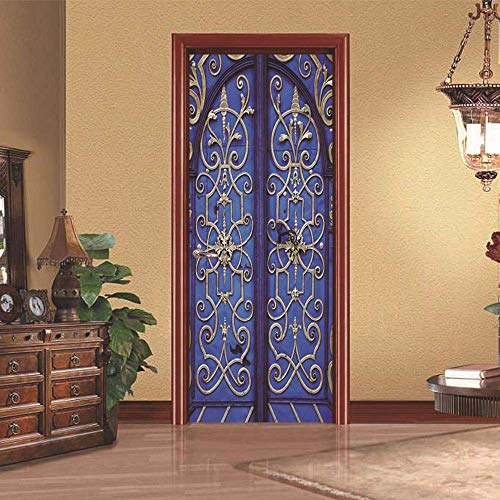 PyUK mozaïek-deurstickers, zelfklevend, deur, decoratie, voor woonkamer, living, deur, kerk, decoratie voor huis, deur, zelfklevend, 3D-effect 95x215cm