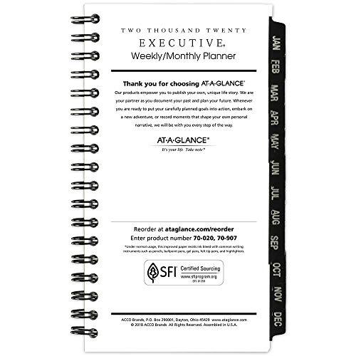 AT-A-GLANCE 2020 Agenda semanal e mensal/livro de compromisso, 20,3 x 27,9 cm, grande, executiva, preta (70NX8105), Nova Edição 2020, Pocket Refill