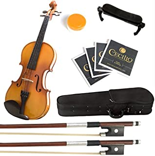 Mendini 1/4 MV400 Ebony Fitted Solid Wood Violin with Hard Case, Shoulder Rest, Bow, Rosin, Extra Bridge and Strings