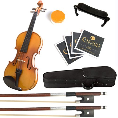 Product Image of the Mendini MV400 Ebony Fitted Solid Wood Violin with Hard Case, Shoulder Rest, Bow,...