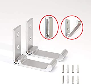 Folding Wall Hooks for Hanging Coats - Retractable Coat and Hat Rack Robe and Towel Hooks Head Phone Stand Hanger Clothes Hook Aluminum Alloy (Set of 2)(Gray)