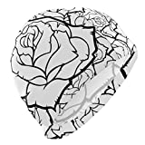 Rose Flower Schwarz-Weiß-Badekappe Bequem, rutschfeste Badekappe Schützen Sie die Ohren Hutabdeckung Outdoor-Badezubehör
