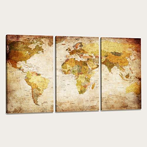 160 x 90 cm cuadro en lienzo mapamundi 1166-VKF –Cuadro impresión, Cuadro decoración