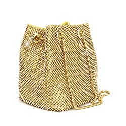 A Bucket Evening Crossbody Bag with chain made of golden shinning Rhinestones Perfect cheap evening bag for 20 dollars