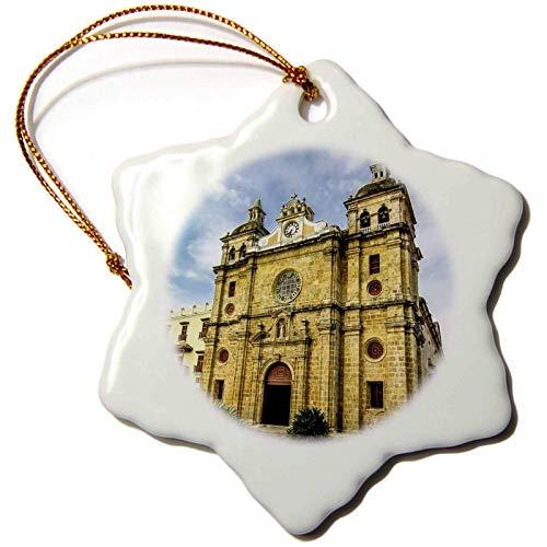 Laptopo 3-Inch Snowflake Porcelain Ornament Church of San Pedro Claverm Old City, Cartagena, Colombia
