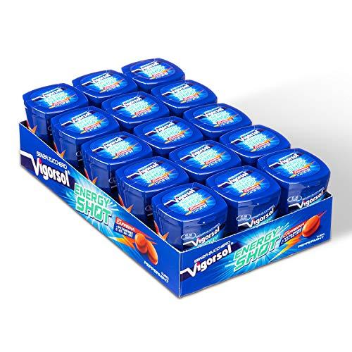 Vigorsol Energy Shot Chewing Gum Senza Zucchero, con Caffeina, con Vitamine, Gusto Menta, Confezione da 15 Mini Barattoli, 12 Gomme da Masticare Ciascuno