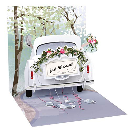PopShots Studios Pop Up 3D Karte Hochzeit Grußkarte Honeymoon Auto 13x13cm