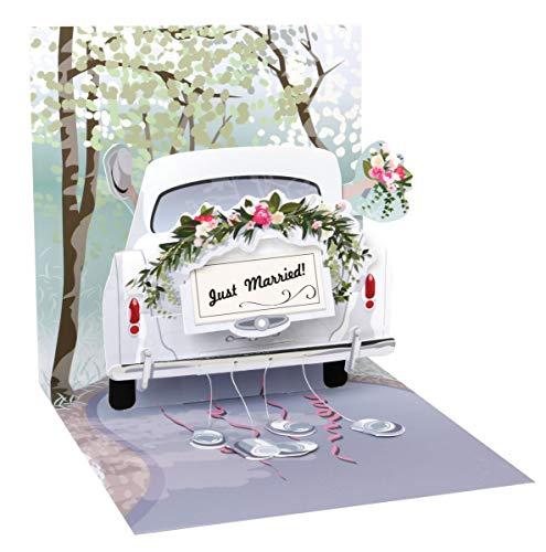 51Z1CX3yZdL - PopShots Studios Pop Up 3D Karte Hochzeit Grußkarte Honeymoon Auto 13x13cm