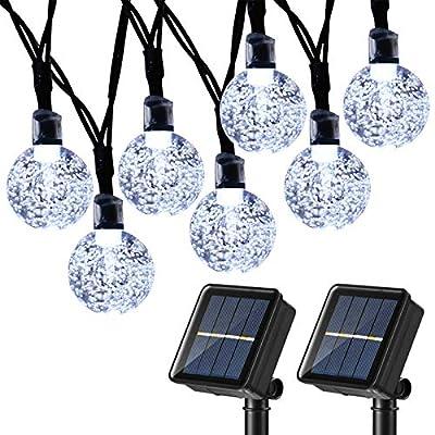 Joomer 2 Pack Globe Solar String Lights, 20ft 30 LED Solar Globe Lights,Waterproof 8 Modes Crystal Ball Lighting for Patio, Lawn, Garden, Wedding, Party, Christmas Decorations (White)
