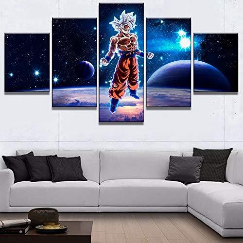 JSBVM 5 Paneles Lona HD Print Gran Bola de dragón exoplaneta Pinturas Arte de la Pared para Decoraciones de hogar Decoración de Pared,B,30×50×2+30×70×2+30×80×1