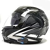 Casco Bluetooth para motocicleta, certificación DOT/ECE, intercomunicador 1000M FM (impermeable/manos libres/estéreo/GPS /) Sistema de comunicación Casco modularwang 4,S=55-56CM