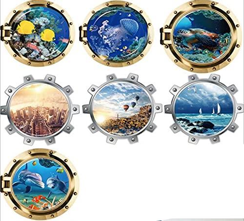 ahliwei 7 Juegos de Pegatinas de Pared colección Submarino Efecto 3D decoración de la Ventana Pintura decoración del hogar Pegatinas de Pared 50 * 50 cm * 7 Piezas