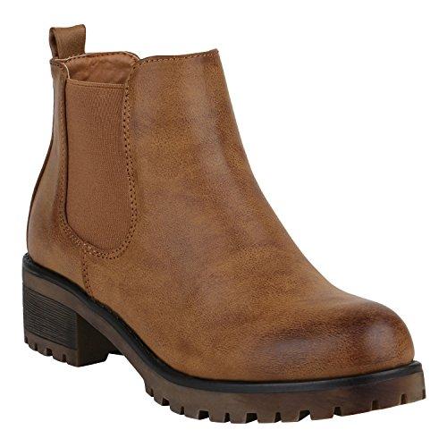Bequeme Damen Schuhe Chelsea Boots Profilsohle Stiefeletten Blockabsatz 151860 Hellbraun Amares 37 Flandell