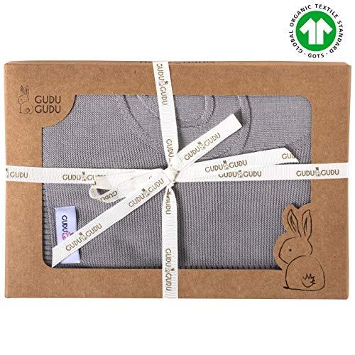 Gudu Gudu Organic Cotton Ultra Soft Knitted Baby Blanket for Boys and Girls - Made in Turkey - Grey - Baby Gifts for Boys - Baby Gifts for Girls