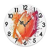 ZORMIEY Horloge Murale Ronde Ballon de Rugby à Piles dans des aquarelles numériques Splash Loisirs Loisirs Sports Run Design, Décoratif sans tic-tac pour Cuisine Salon Bureau à Domicile École