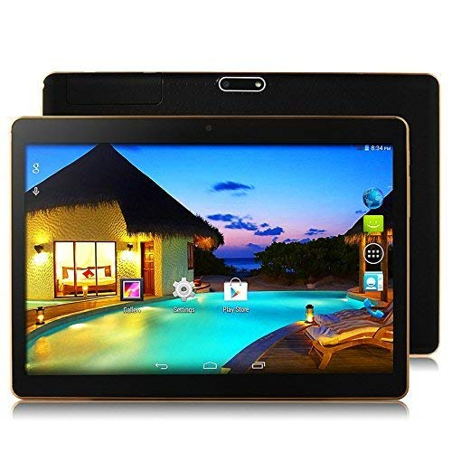 10 Inch 3G Phablet Android 7.0 Quad Core 32GB ROM 2GB RAM Call Phone Tablet PC, Unlocked Dual Sim Card Slots, Bluetooth, GPS, WIFI, Netflix Youtube Resolution 107- black