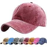 UMIPUBO Unisex Vintage Baseball Cap Adjustable Baseball Cap Outdoor Sports Solid Hats (Wine)