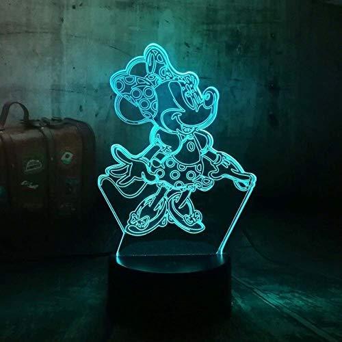 Nouveau Dessin Animé 3D Belle Jupe Filles Mignon Minnie Mouse 7 Couleur Dégradé Brillant Humeur Nuit Lumière Enfant Dormir Noël Cadeau D'Anniversaire Contrôleur 7 Couleur Jupe Minnie