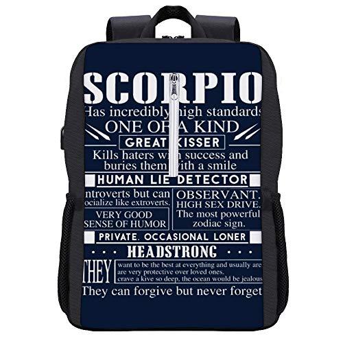 Scorpio Eigenschaften Rucksack Daypack Bookbag Laptop Schultasche mit USB-Ladeanschluss