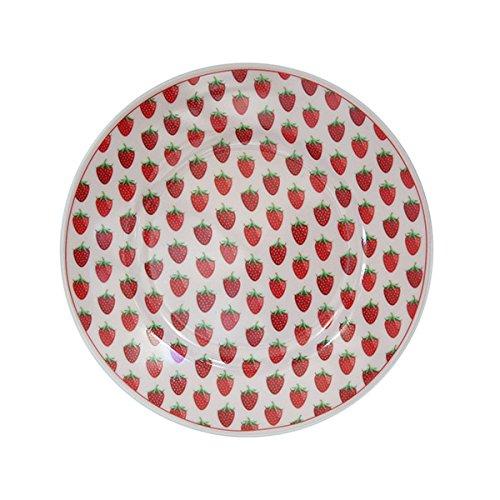 Krasilnikoff - Happy Plate/Teller/Frühstücksteller/Kuchenteller - Erdbeeren - Porzellan - Ø 20cm
