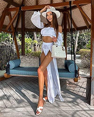 L&ieserram Womens Bikini Cover ups Set de ropa 2 piezas Sexy Mesh Off Hombro Crop Top Camisas + Falda larga Sarong Divisa ver a través de vestidos de verano de playa, blanco, Talla única