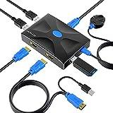 Conmutador KVM HDMI 2 puertos w/Control, MT-HK02 USB KVM Switcher Box Selector con 2 cable...