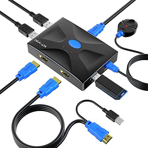 MT-ViKI USB HDMI KVM Switch 2 Ports + U Disk Hub, 4K KVM Switcher Umschalter mit KVM Kabel
