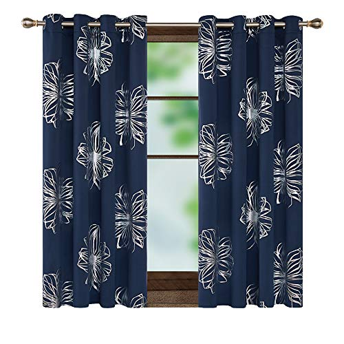 Deconovo Silver Floral Printed Thermal Insulated Grommet Blackout Curtains, Navy Blue, 52W x 45L Inch, Foil Print Flower Design Room Darkening Window Drapes for Short Window, Set of 2 Panels