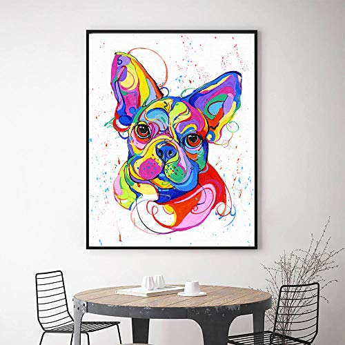 ZGZART Cuadro sobre Lienzo para Pared Bulldog francés Imagen de Animal Colorido y póster Impresión al óleo para la decoración del hogar de la Sala de Estar - 40x60cm (Sin Marco)