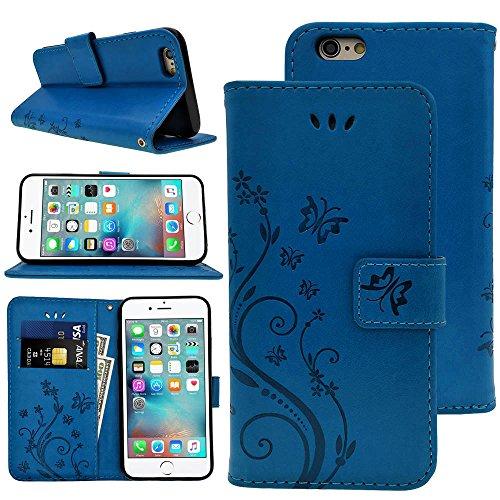 """KUAWEI Coque iPhone 6 6S Etui Cuir iPhone 6 6S Cover Flip Cover avec Fonction Stand et Fente pour Carte Portefeuille Housse de Multi-Usage à Protection complète pour iPhone 6 6S 4.7"""" (Bleu)"""