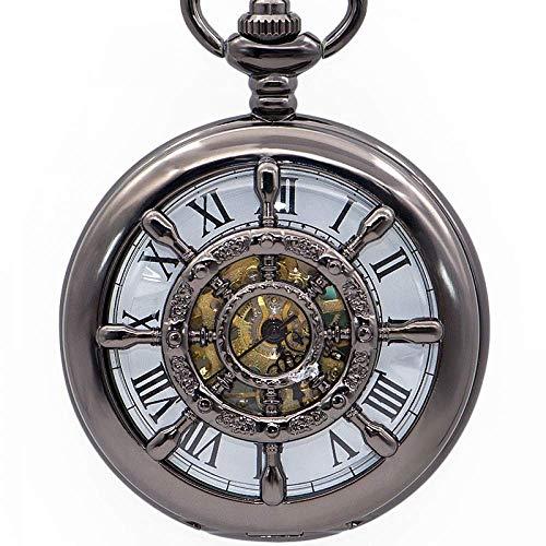 DIHAO Reloj de Bolsillo para Hombre Rueda Vintage Reloj Colgante mecánico de Viento de Mano Hueco de Doble Cara con Cadena
