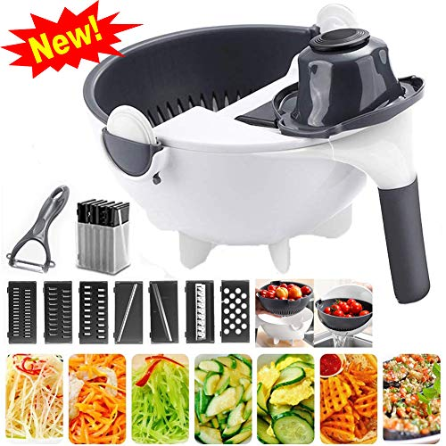 xingxinqi New Upgrade 9 in 1 Multifunction Magic Rotate Vegetable Cutter with Drain Basket Vegetable Cutter Portable Slicer Chopper Grater Kitchen Tool