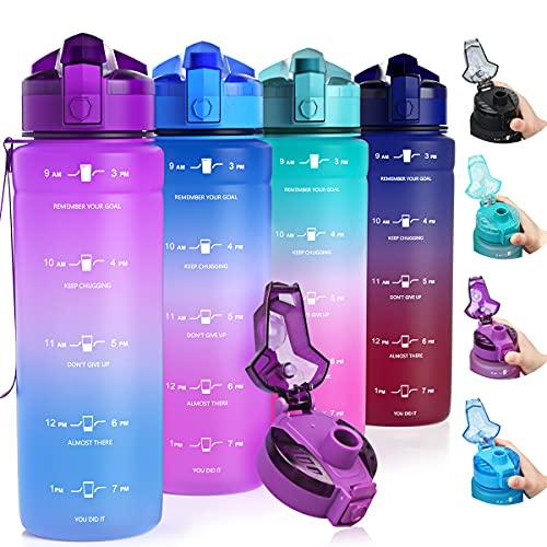 Zounich Botella de agua para niños a prueba de fugas, 1L/700ml/500ml/BPA, libre de BPA, deportiva, de plástico tritán, para deportes, bicicleta, escuela, etc.