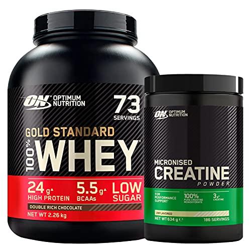 Optimum Nutrition Gold Standard 100% Whey Proteine con Aminoacidi Doppio Cioccolato 2,26kg 73 Porzioni + Micronised Creatine Monohydrate per la Performance Non Aromatizzato 634g 186 Porzioni