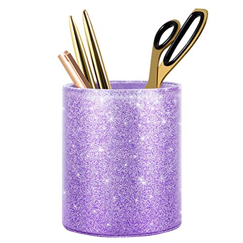 WAVEYU Pen Holder for Desk Decor Pencil Cup for Girls Kids Durable Ceramic Desk Organizer Makeup Brush Holder,Luxury Bling Purple
