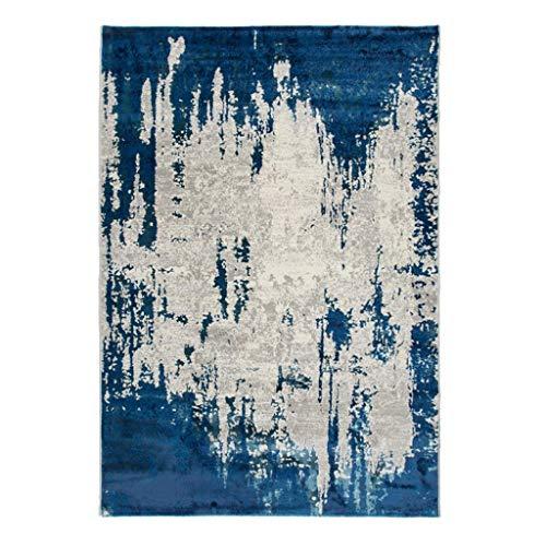 Tapis JXLBB Bleu de Salon Abstrait lumière Nordique Style mélangé Soie Moderne Abstrait Minimaliste de Style américain Salon canapé Chambre Table Basse 0.8x1.2m