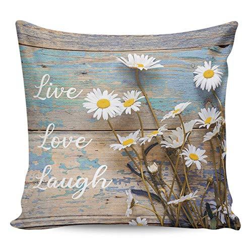 Hangdachang - Federa per cuscino, motivo margherite fresche su legno, per casa, soggiorno, camera da letto, divano, stile vintage country floreale