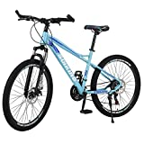 Hugncmy Mountain Bike - 26-Inch Wheels, 21-Speed, Aluminum Alloy Frame, Front and Rear Disc Brakes Bikes, Internal Wiring of Frame (Frosted D)