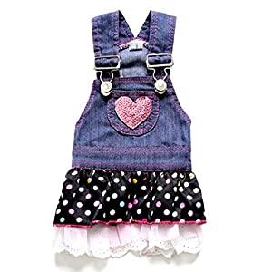 SELMAI Dog Costumes Dress Rompers Denim Jumpsuit for Small Puppies Pet Cats Princess Jean Clothes with Pocket Bib Outfits Pleated Tiered Skirt Polka Dots Heart Sequins for Summer XS