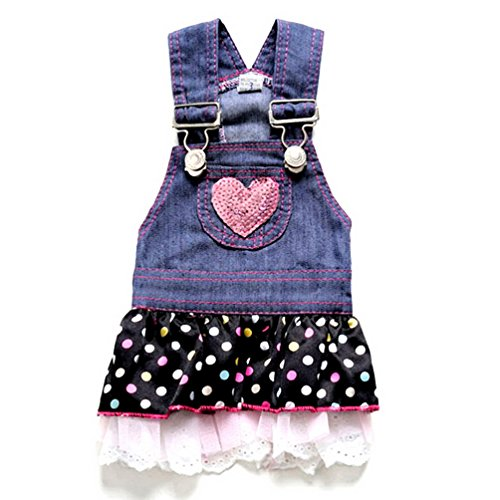 SELMAI Dog Costumes Dress Rompers Denim Jumpsuit for Small Puppies Pet Cats Princess Jean Clothes with Pocket Bib Outfits Pleated Tiered Skirt Polka Dots Heart Sequins for Summer L