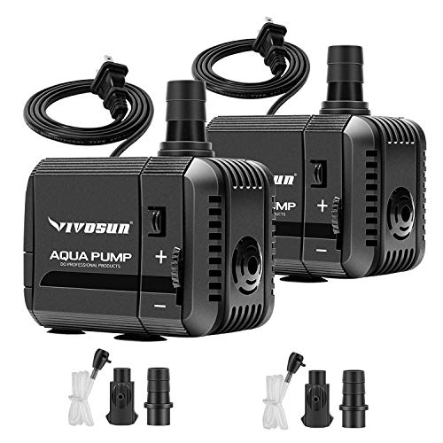 VIVOSUN 2-Pack 130GPH Submersible Pump(500L/H, 6W), Ultra Quiet Water Pump with 2.6ft High Lift, Fountain Pump with 5ft Power Cord, 2 Nozzles for Fish Tank, Pond, Aquarium, Statuary, Hydroponics