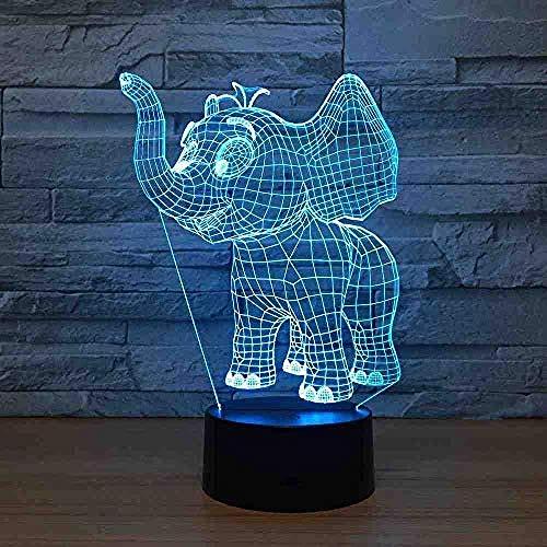 Veilleuses Cut animal éléphant nuit 3D USB LED Light lampe de table bureau avec interrupteur tactile pour enfant bébé cadeau anniversaire