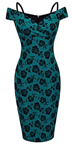 HOMEYEE Damen Vintage Blumendruck Off Shoulder Riemchen Knielänge Bodycon Enges Kleid B309 (EU 36 (Herstellergroesse: S), Grün)