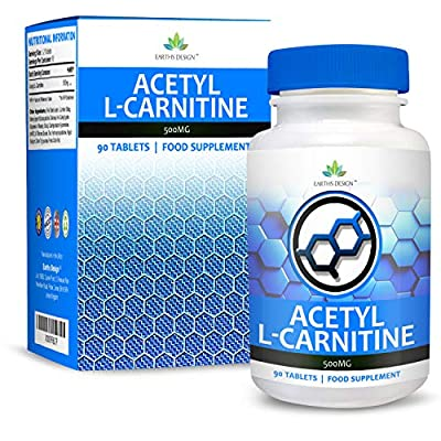 Earths Design Acetyl L-Carnitine - 500mg Carnitine - L Carnitine Amino Acid - Suitable for Vegetarians - 90 Tablet (3 Month Supply) White